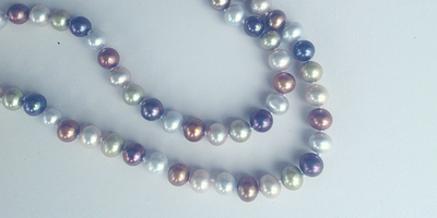 Freshwater dyed pearl necklace.