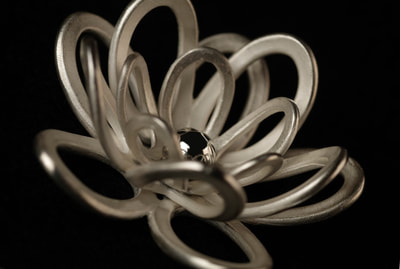 Large silver lotus flower ring.